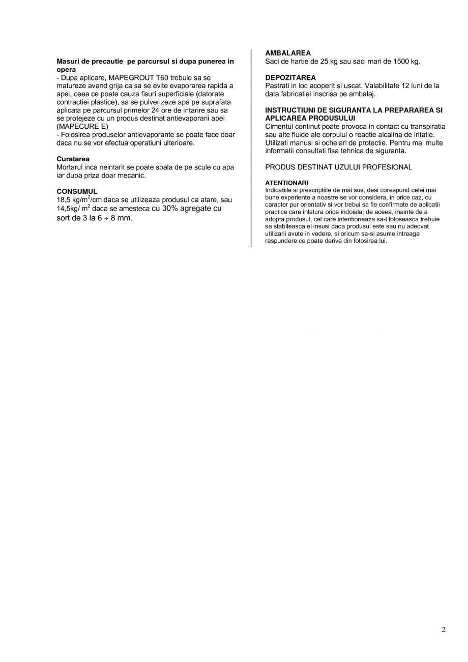 Pagina 2 - Mortar fibroranforsat tixotropic monocomponent rezistent la sulfati pentru repararea...