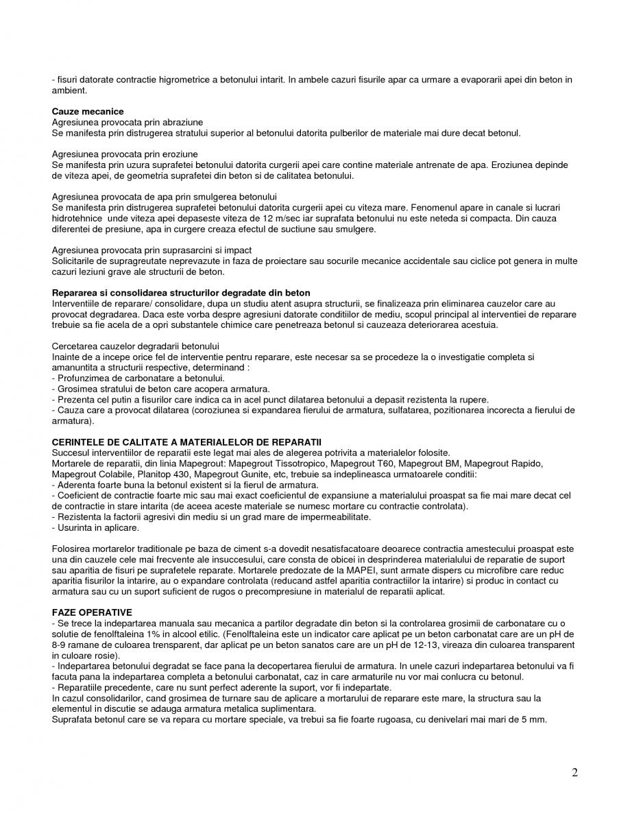Pagina 2 - Mortare speciale pentru reparatii MAPEI Mapegrout SV Fiber, Mapegrout T60, Mapegrout Easy...