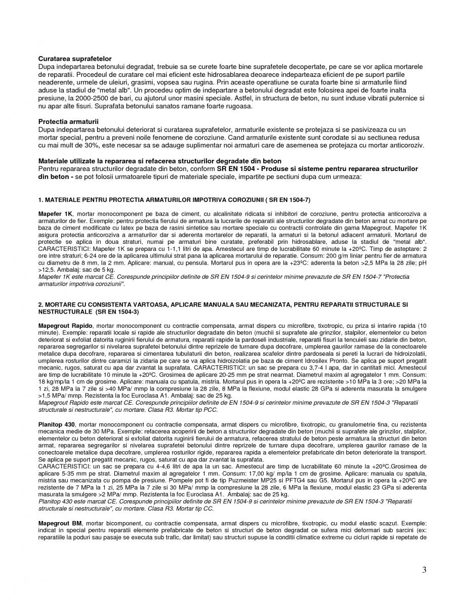 Pagina 3 - Mortare speciale pentru reparatii MAPEI Mapegrout SV Fiber, Mapegrout T60, Mapegrout Easy...