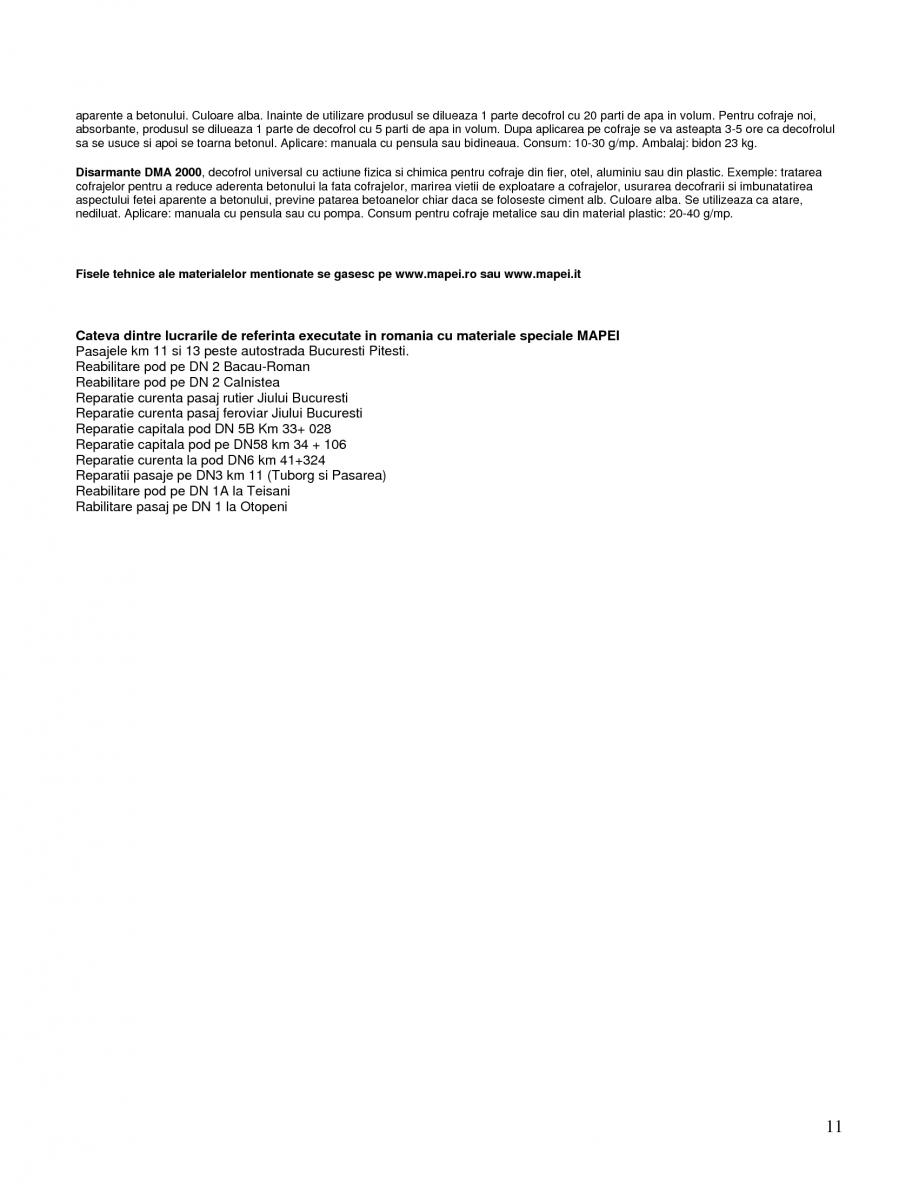 Pagina 11 - Mortare speciale pentru reparatii MAPEI Mapegrout SV Fiber, Mapegrout T60, Mapegrout...