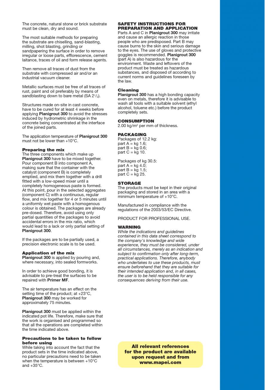 Pagina 3 - Mortar epoxidic tricomponent, cu consistenta fluida MAPEI Planigrout 300 Fisa tehnica...