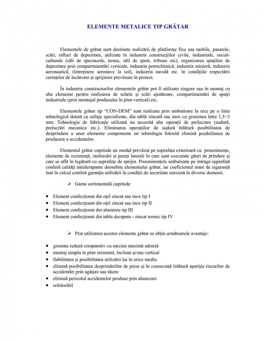 Pagina 1 - Elemente metalice tip gratar GRIRO TIP 1, TIP 2, TIP 3, TIP 4 Catalog, brosura Romana...