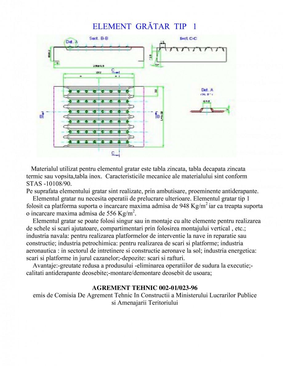 Pagina 1 - Gratar metalic GRIRO TIP 1 Fisa tehnica Romana ELEMENT GRĂTAR TIP 1  Materialul...