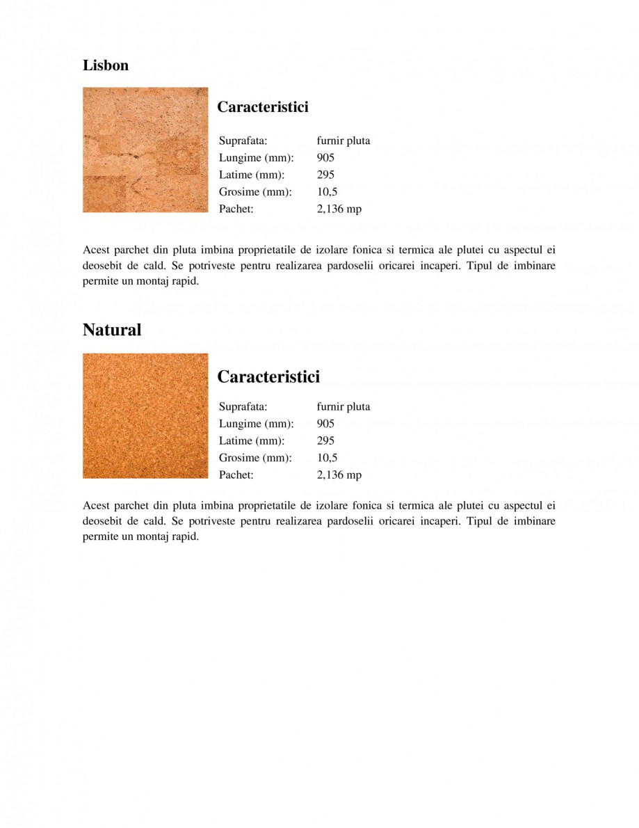 Pagina 2 - Parchet din pluta WICANDERS Corkcomfort Character, Corkcomfort Dawn, Corkcomfort Lisbon, ...