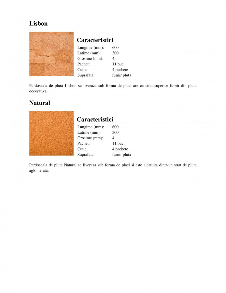 Pagina 2 - Pardoseli din pluta WICANDERS Character, Dawn, Lisbon, Natural, Shell Fisa tehnica Romana...
