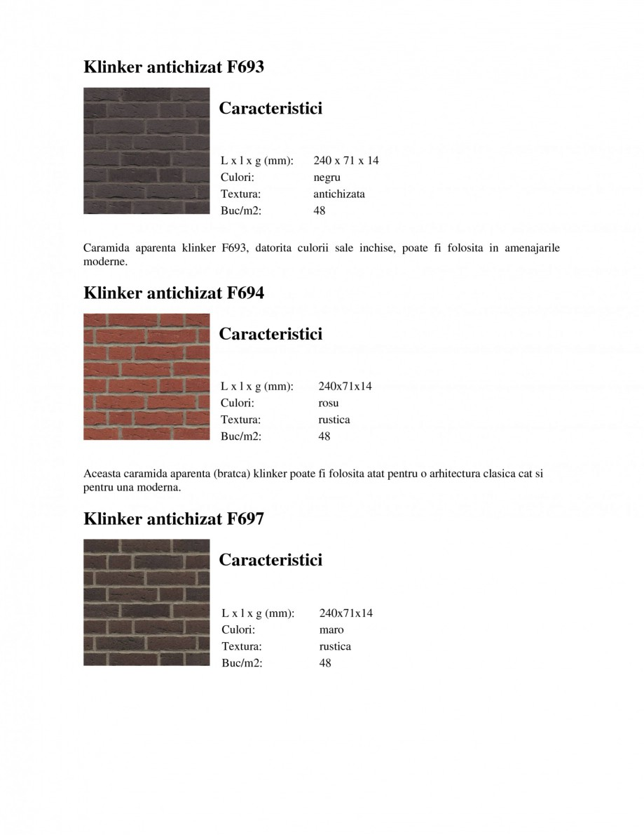 Pagina 4 - Caramida aparenta klinker antichizat FELDHAUS SINTRA F684, SINTRA R687, SINTRA F697,...