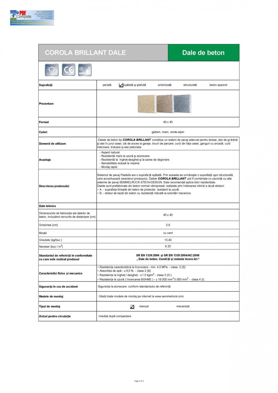 Pagina 1 - Dale din beton SEMMELROCK STEIN+DESIGN CORONA BRILLIANT Fisa tehnica Romana COROLA...