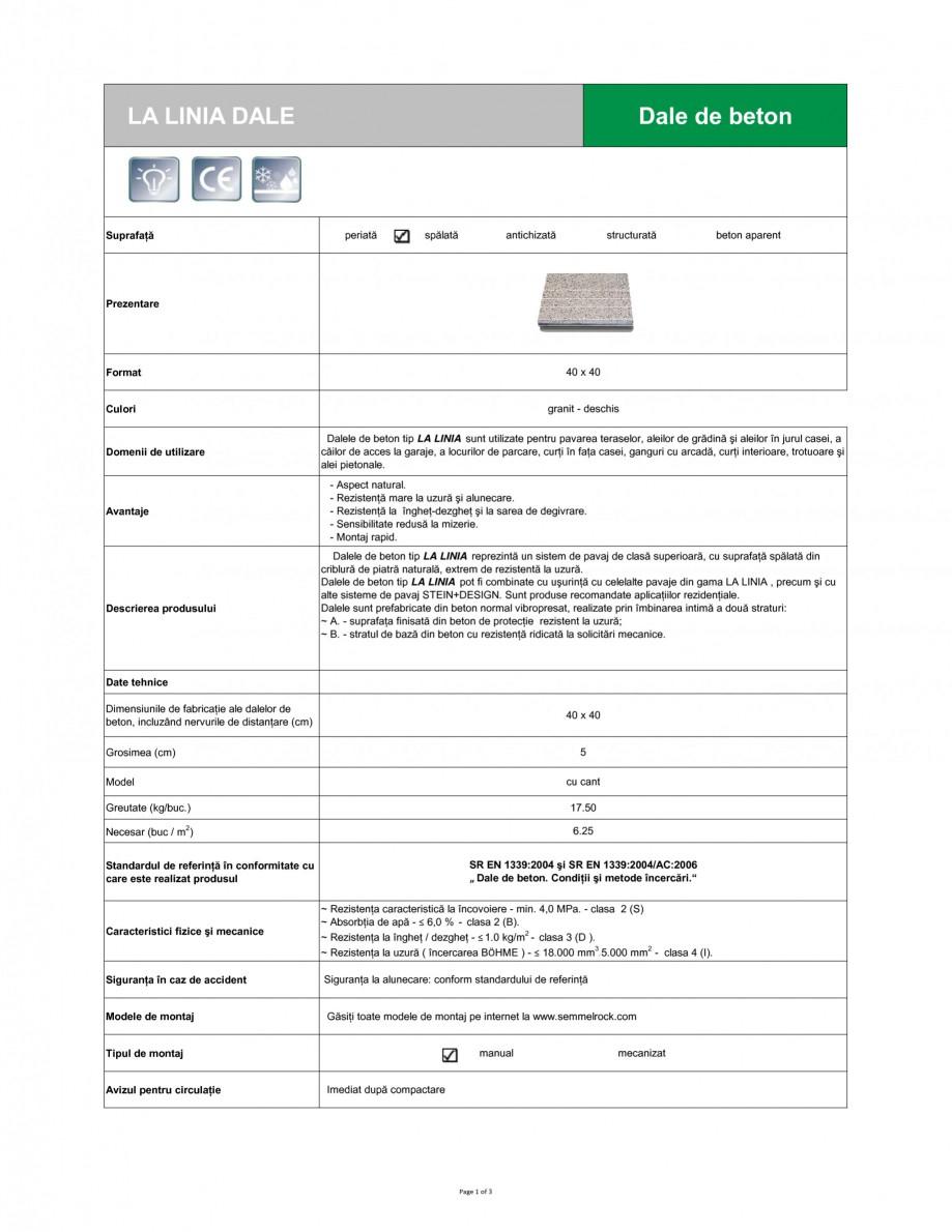 Pagina 1 - Dale din beton SEMMELROCK STEIN+DESIGN LA LINIA Fisa tehnica Romana LA LINIA DALE  Dale...