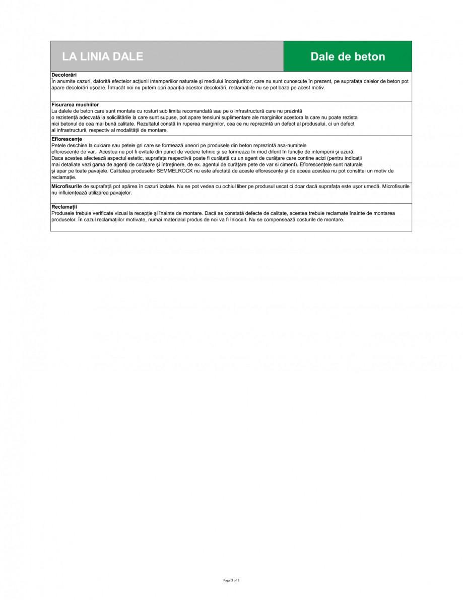 Pagina 3 - Dale din beton SEMMELROCK STEIN+DESIGN LA LINIA Fisa tehnica Romana uranţa în caz de...