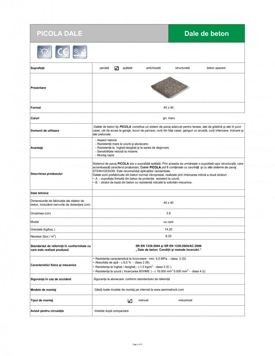 Pagina 1 - Dale din beton SEMMELROCK STEIN+DESIGN PICOLA Fisa tehnica Romana PICOLA DALE  Dale de...