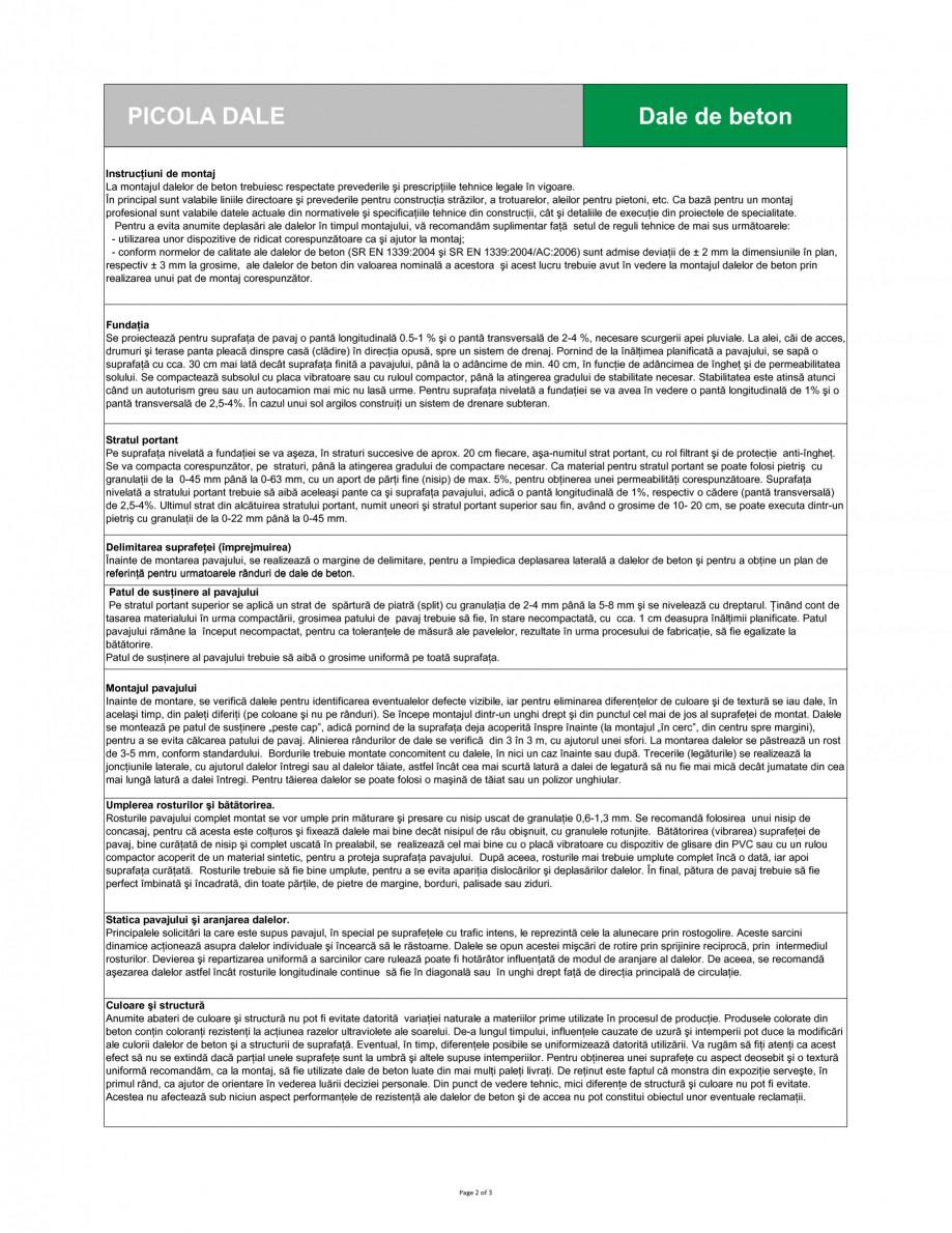 Pagina 2 - Dale din beton SEMMELROCK STEIN+DESIGN PICOLA Fisa tehnica Romana narea intimă a două...