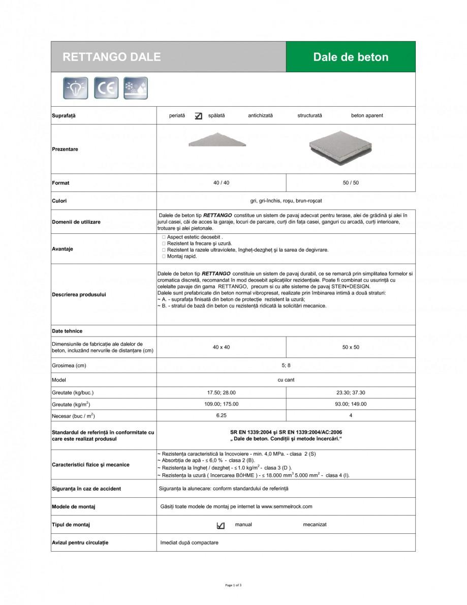 Pagina 1 - Dale din beton SEMMELROCK STEIN+DESIGN RETTANGO Fisa tehnica Romana RETTANGO DALE  Dale...