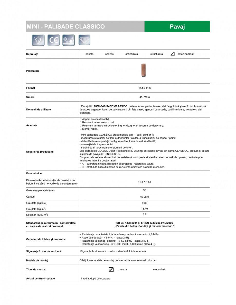 Pagina 1 - Mini-palisade SEMMELROCK STEIN+DESIGN Fisa tehnica Romana MINI - PALISADE CLASSICO  Pavaj...