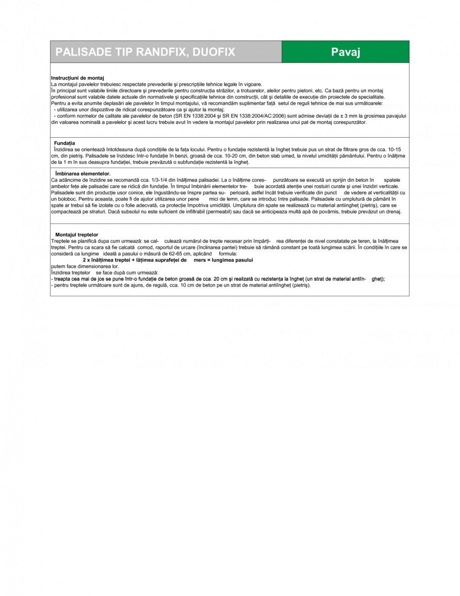 Pagina 2 - Palisade SEMMELROCK STEIN+DESIGN RANDFIX, DUOFIX Fisa tehnica Romana ele de pavaje STEIN ...