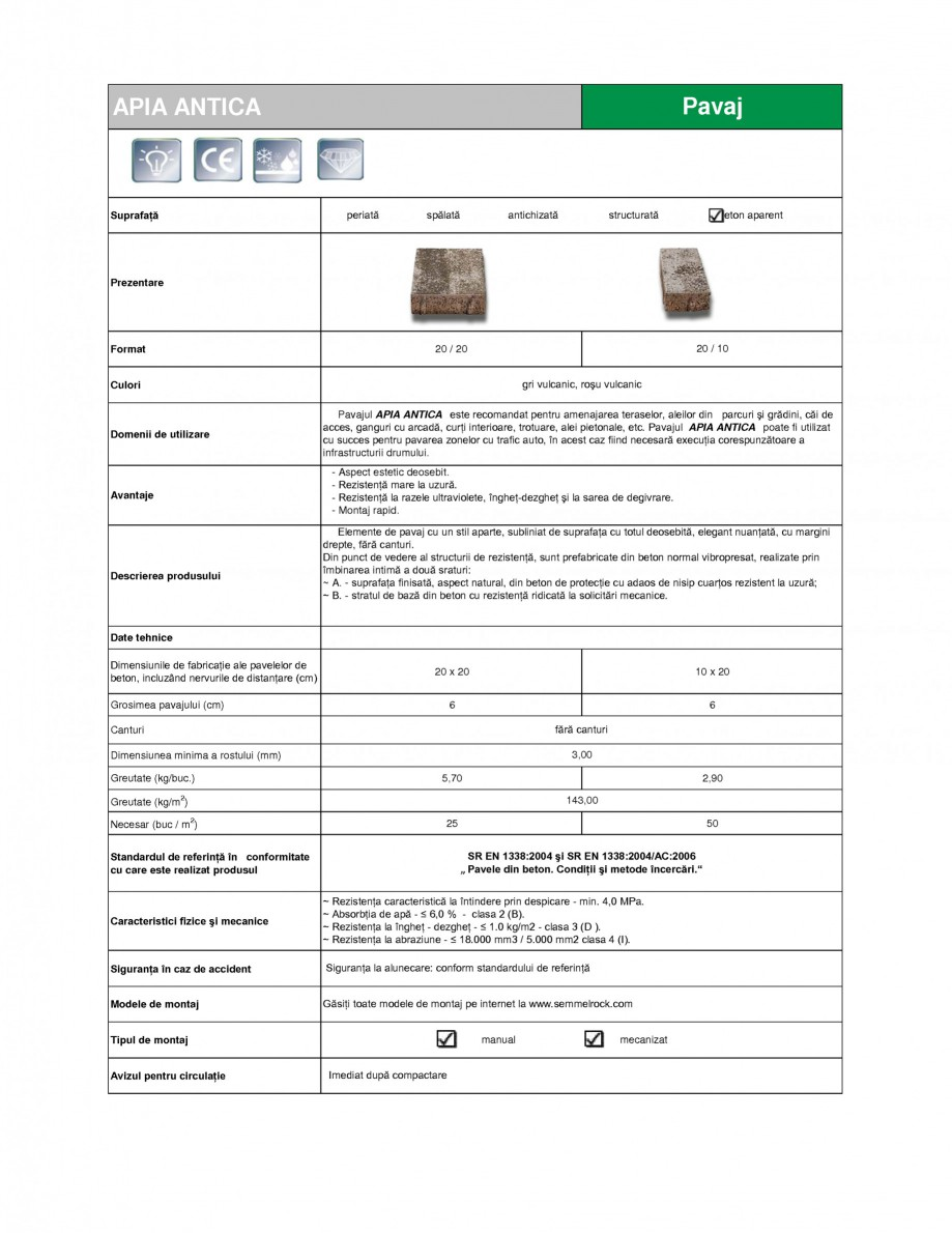 Pagina 1 - Pavaj din beton SEMMELROCK STEIN+DESIGN APPIA ANTICA Fisa tehnica Romana APIA ANTICA ...