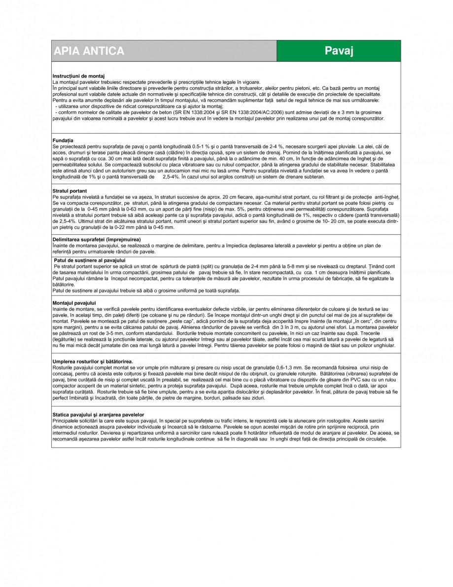 Pagina 2 - Pavaj din beton SEMMELROCK STEIN+DESIGN APPIA ANTICA Fisa tehnica Romana - suprafaţa...