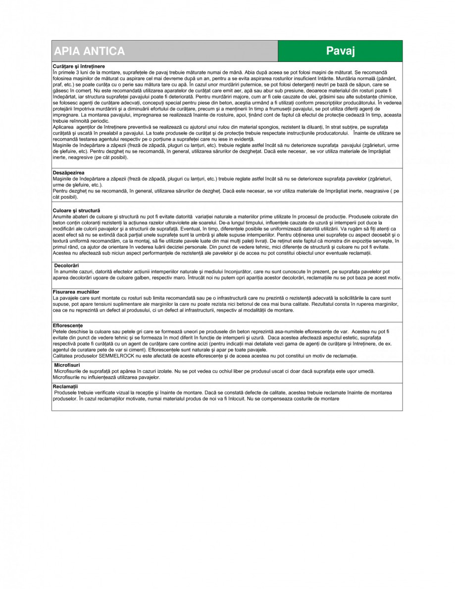 Pagina 3 - Pavaj din beton SEMMELROCK STEIN+DESIGN APPIA ANTICA Fisa tehnica Romana (I). Siguranţa ...