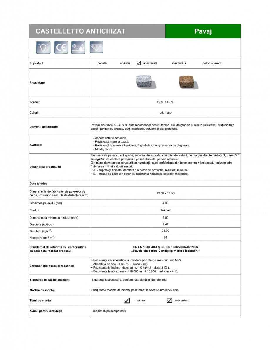Pagina 1 - Pavaj din beton SEMMELROCK STEIN+DESIGN CASTELLETTO - Antichizat Fisa tehnica Romana...