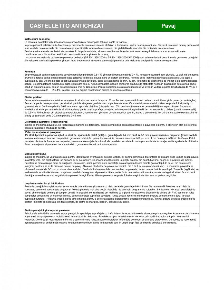 Pagina 2 - Pavaj din beton SEMMELROCK STEIN+DESIGN CASTELLETTO - Antichizat Fisa tehnica Romana...