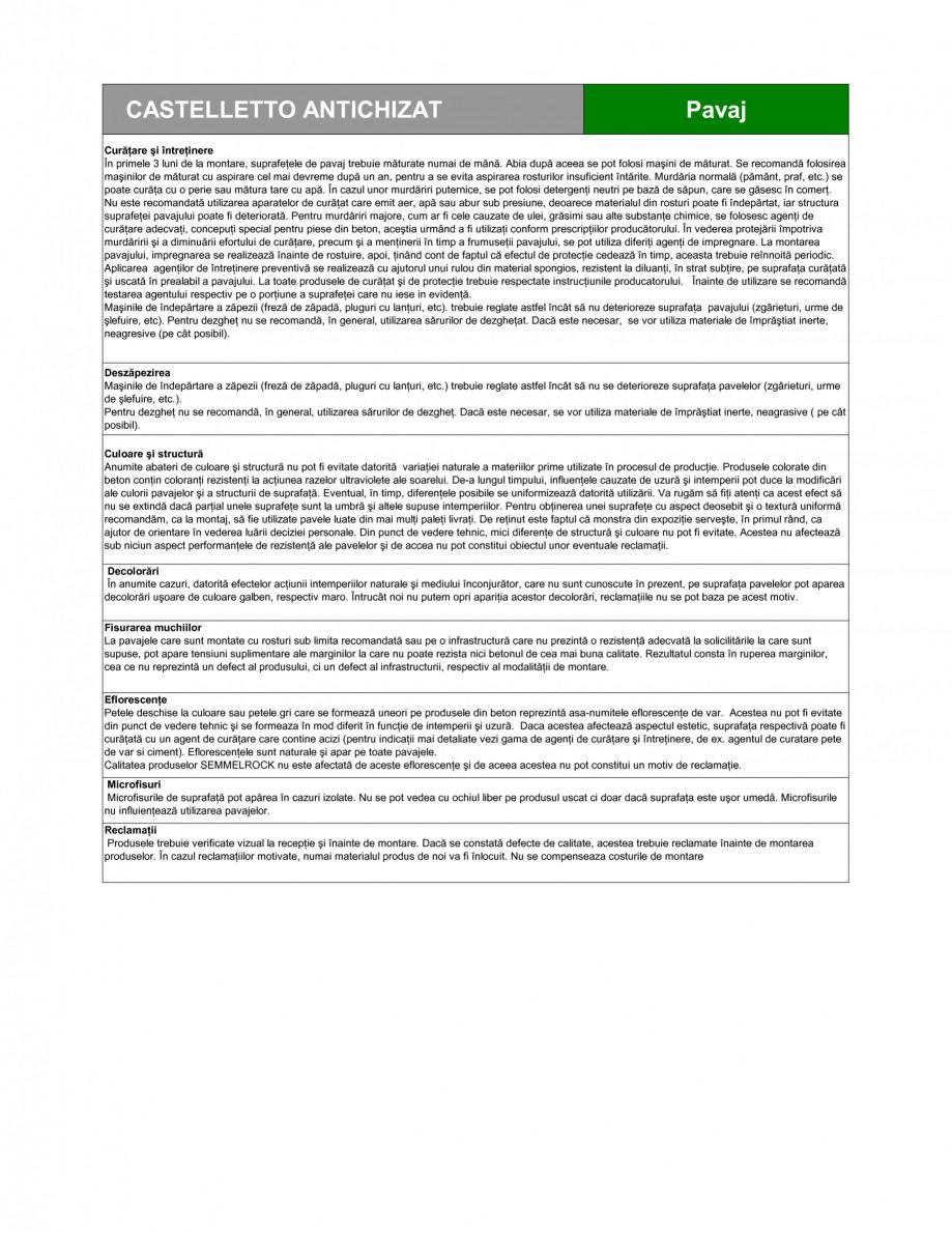 Pagina 3 - Pavaj din beton SEMMELROCK STEIN+DESIGN CASTELLETTO - Antichizat Fisa tehnica Romana...