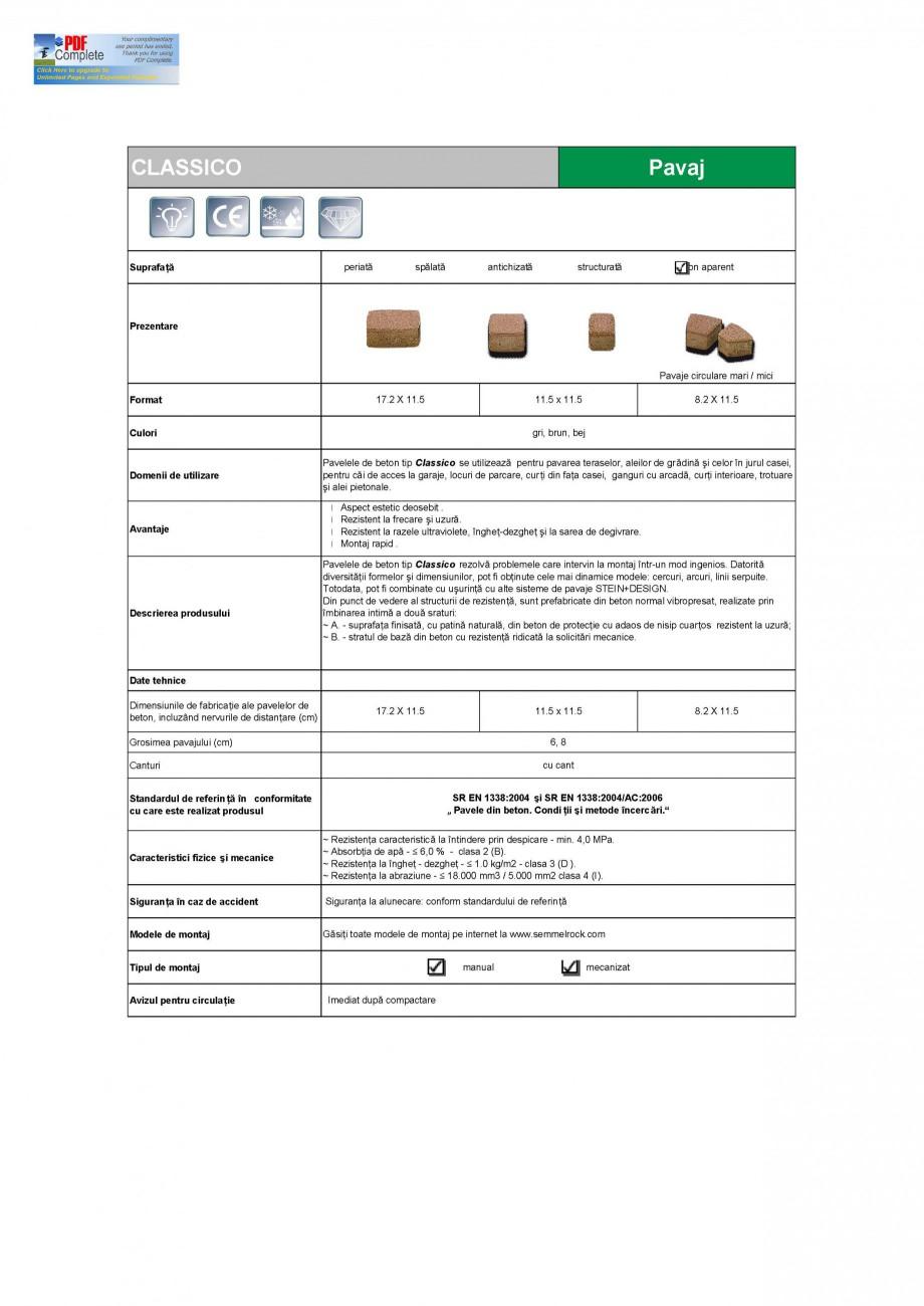 Pagina 1 - Pavaj din beton SEMMELROCK STEIN+DESIGN Fisa tehnica Romana CLASSICO  Pavaj  Suprafa ...