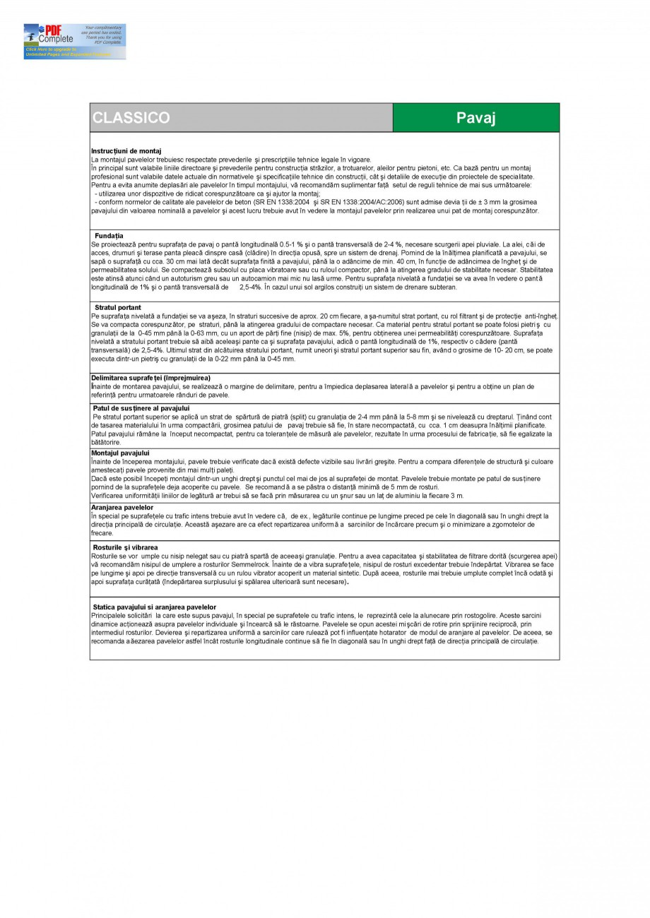 Pagina 2 - Pavaj din beton SEMMELROCK STEIN+DESIGN Fisa tehnica Romana  beton normal vibropresat,...