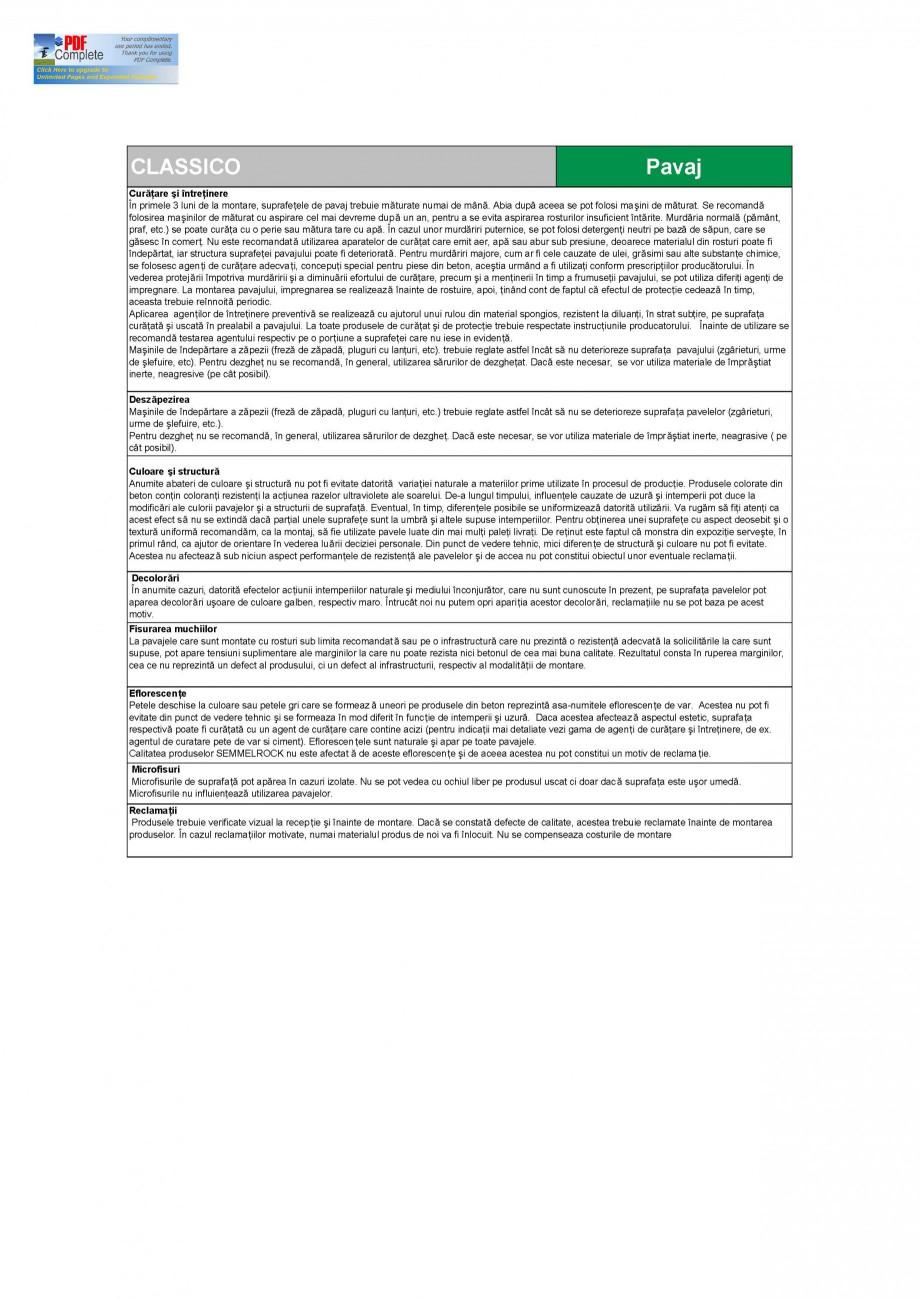 Pagina 3 - Pavaj din beton SEMMELROCK STEIN+DESIGN Fisa tehnica Romana X 11.5  Caracteristici fizice...