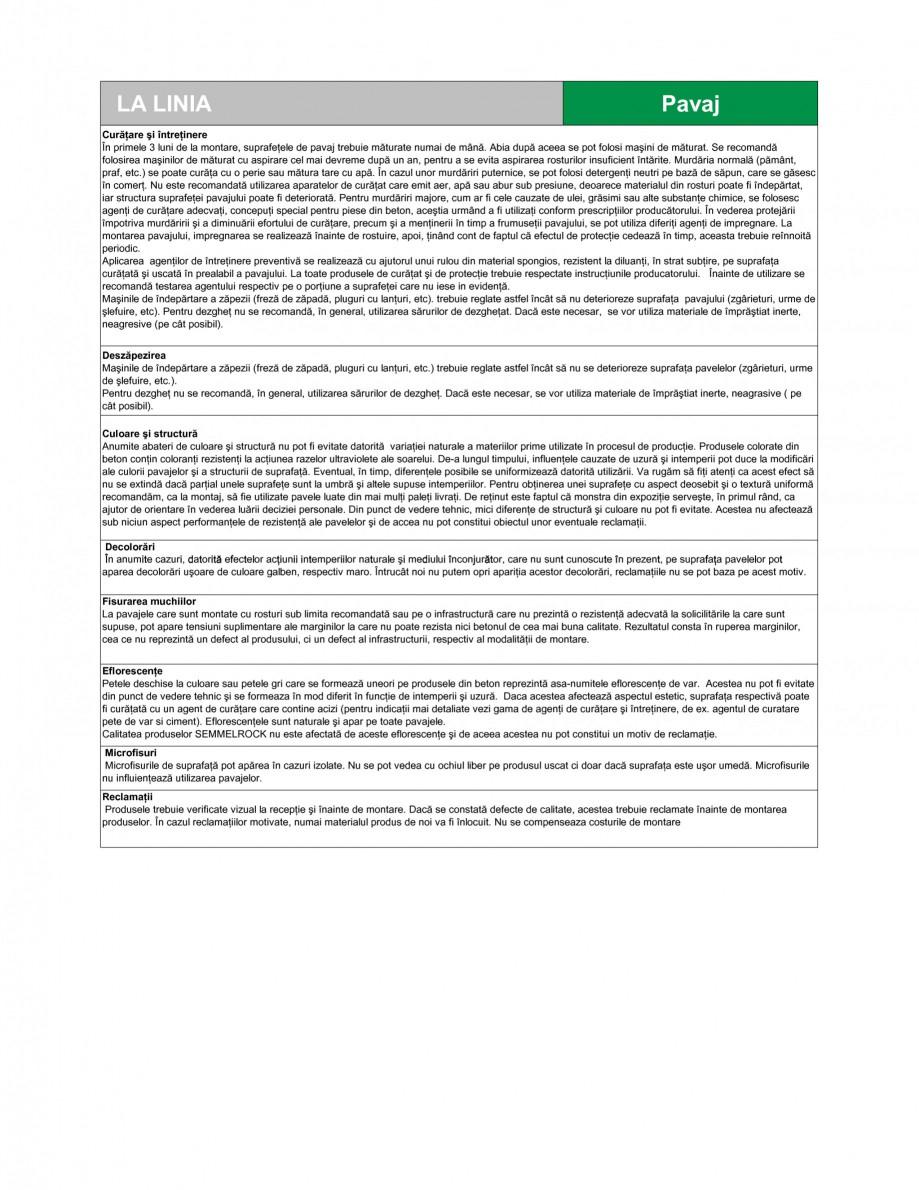 Pagina 3 - Pavaj din beton SEMMELROCK STEIN+DESIGN LA LINIA Fisa tehnica Romana 000 mm2 clasa 4 (I)....