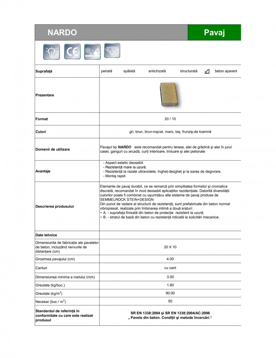 Pagina 1 - Pavaj din beton SEMMELROCK STEIN+DESIGN NARDO Fisa tehnica Romana NARDO  Pavaj ...