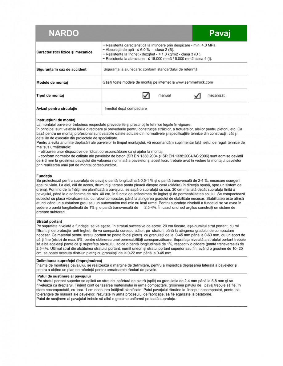 Pagina 2 - Pavaj din beton SEMMELROCK STEIN+DESIGN NARDO Fisa tehnica Romana otecţie rezistent la...