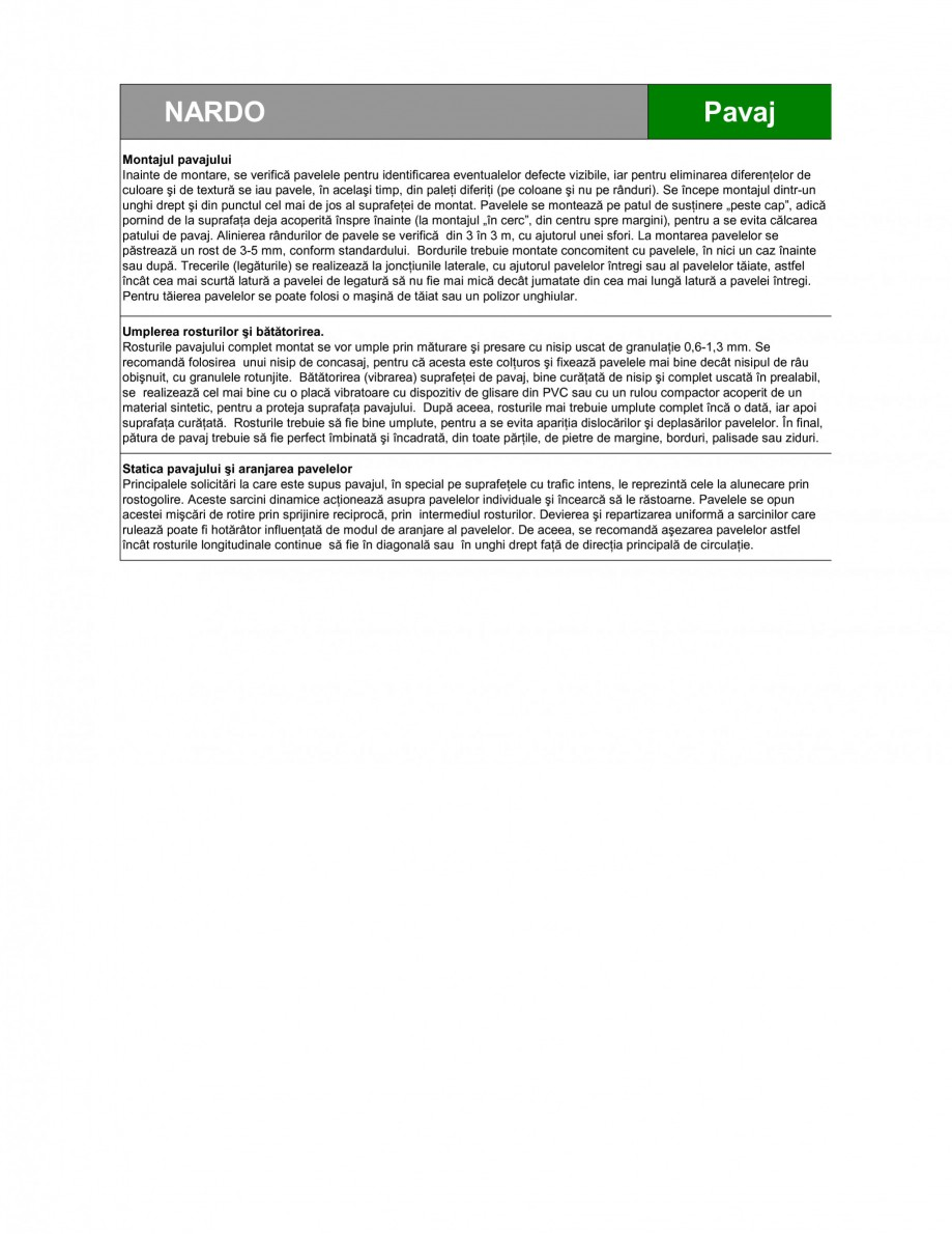 Pagina 3 - Pavaj din beton SEMMELROCK STEIN+DESIGN NARDO Fisa tehnica Romana  internet la www...