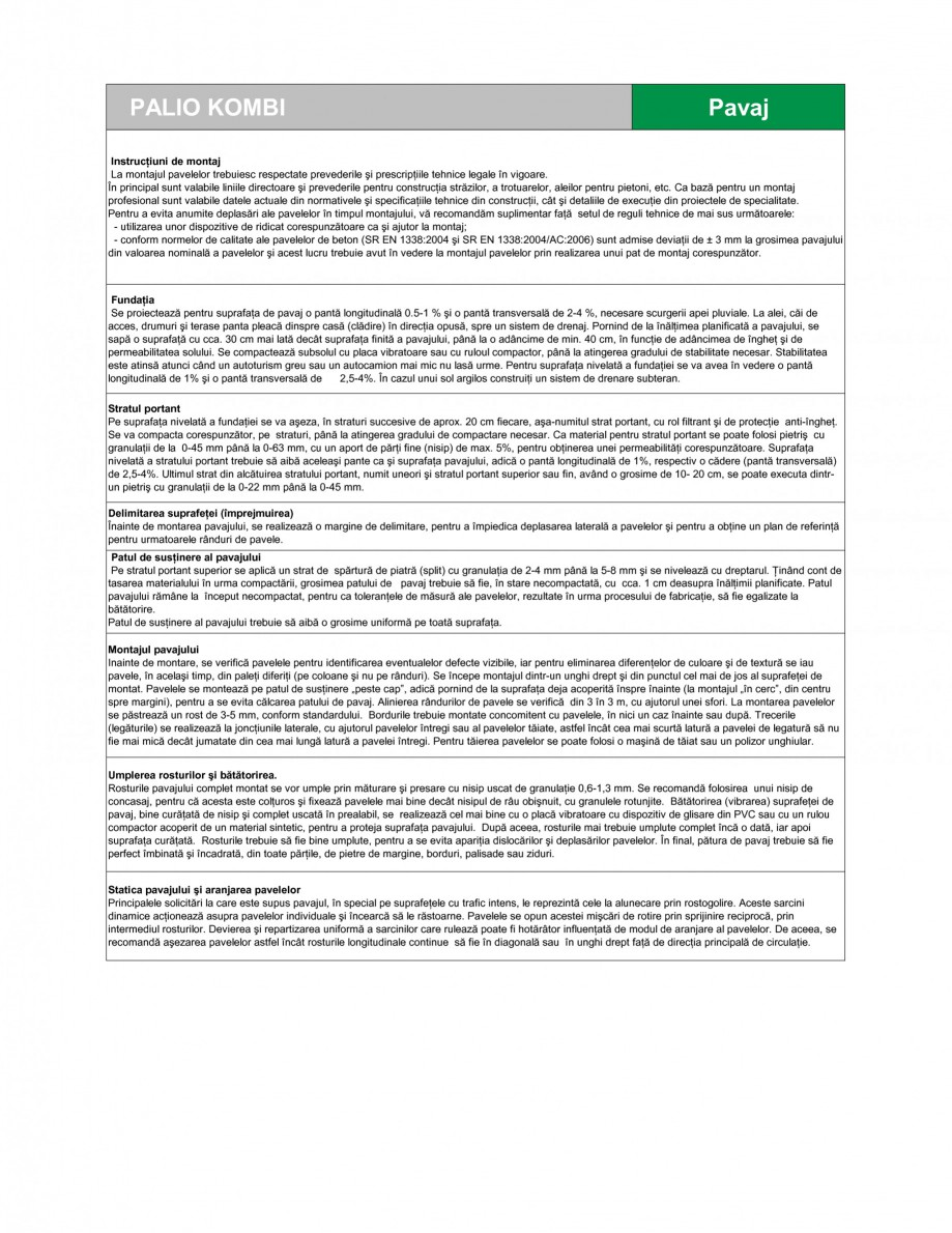 Pagina 2 - Pavaj din beton SEMMELROCK STEIN+DESIGN PALIO Fisa tehnica Romana in punct de vedere al...