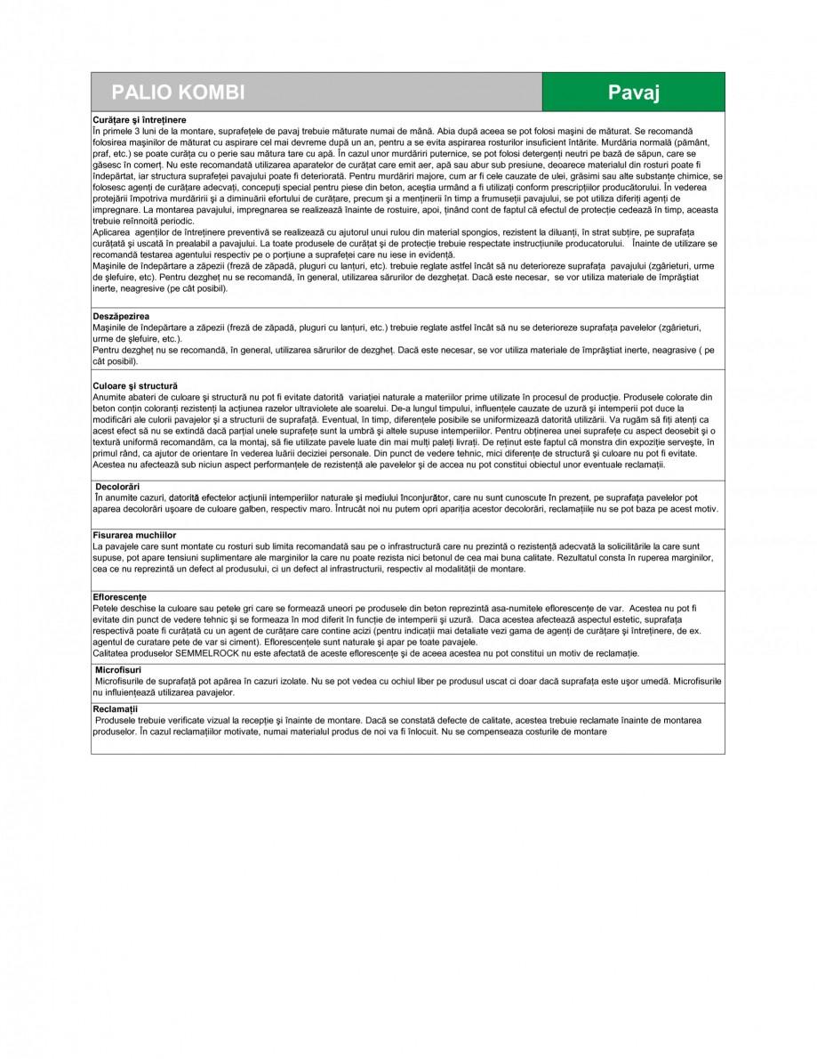 Pagina 3 - Pavaj din beton SEMMELROCK STEIN+DESIGN PALIO Fisa tehnica Romana  - dezgheţ - ≤ 1.0...