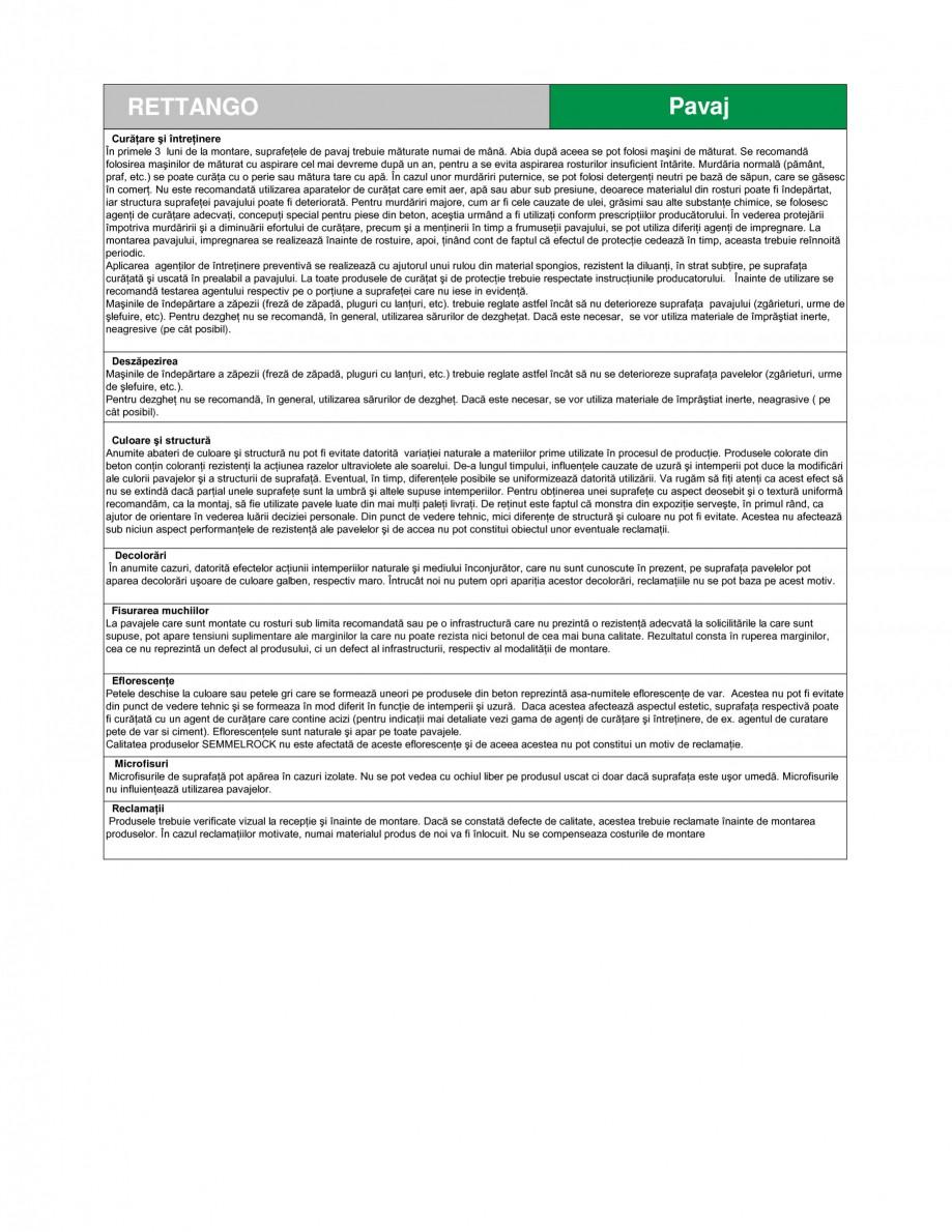 Pagina 3 - Pavaj din beton SEMMELROCK STEIN+DESIGN RETTANGO Fisa tehnica Romana ă - ≤ 6,0 % -...