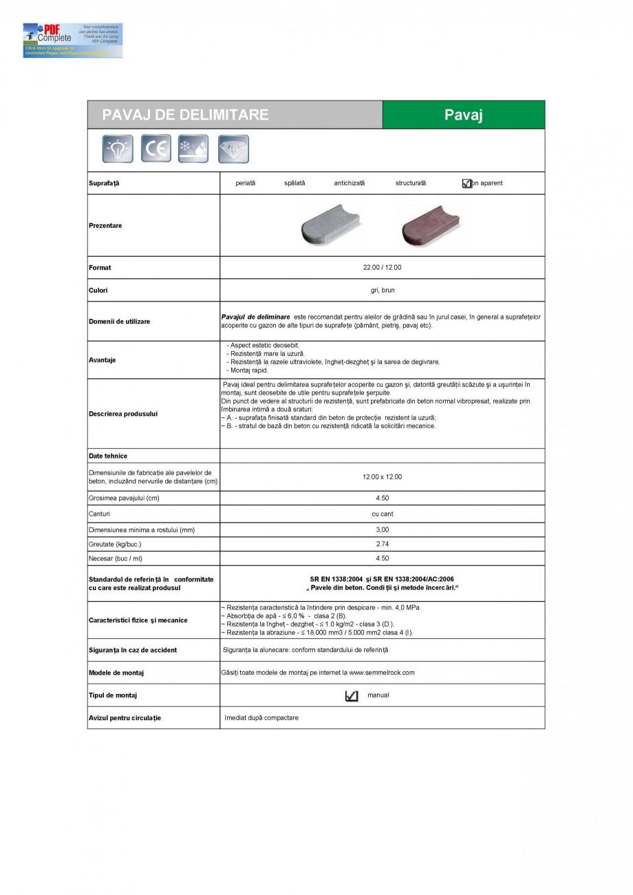 Pagina 1 - Pavaj din beton pentru delimitare SEMMELROCK STEIN+DESIGN Delimitare Gazon Fisa tehnica...