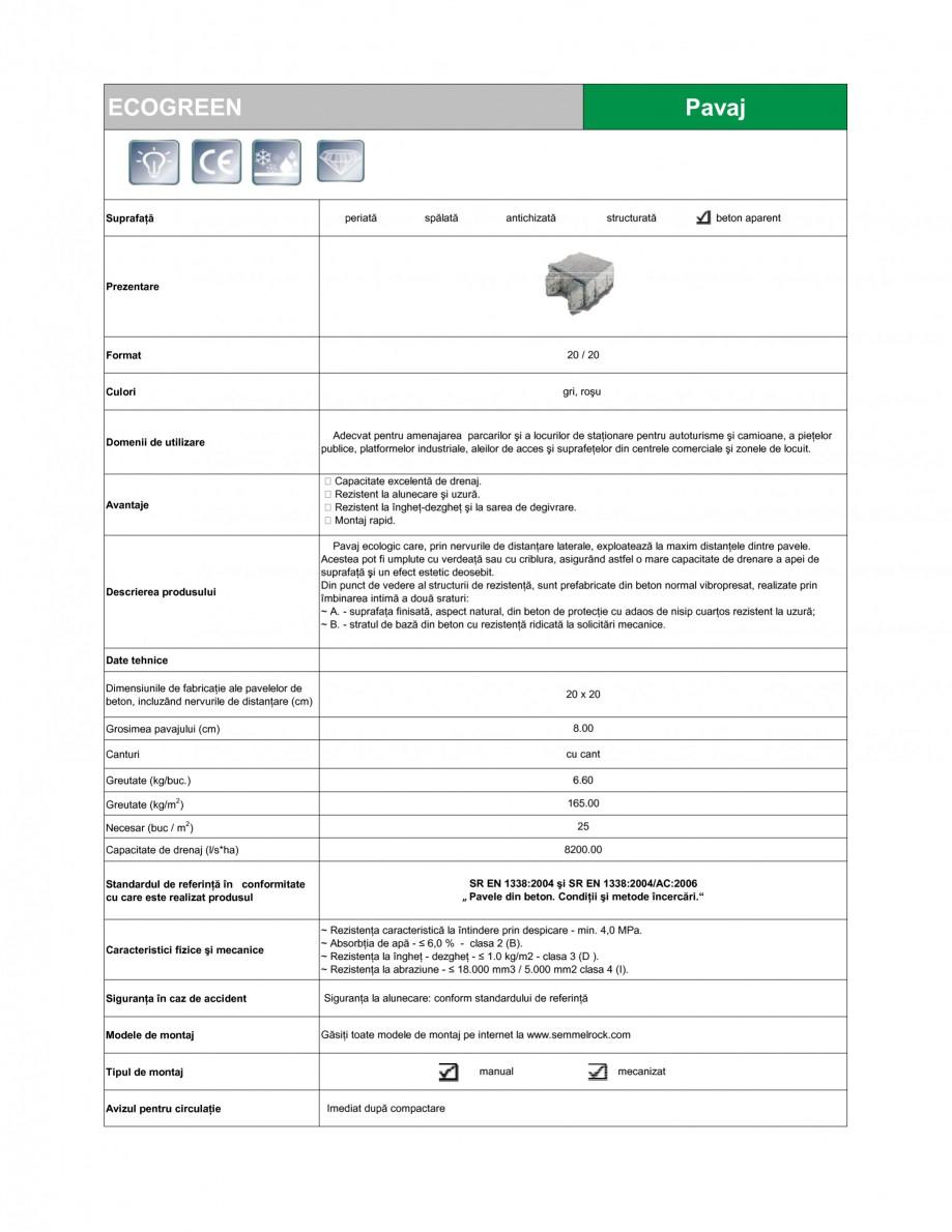 Pagina 1 - Pavaj ecologic din beton SEMMELROCK STEIN+DESIGN ECOgreen Fisa tehnica Romana ECOGREEN ...