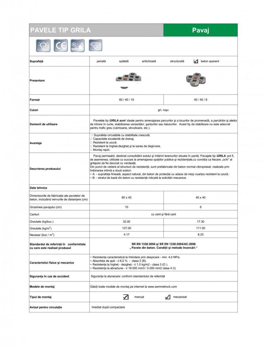 Pagina 1 - Pavaj permeabil din beton SEMMELROCK STEIN+DESIGN PAVAJE GRILA Fisa tehnica Romana PAVELE...