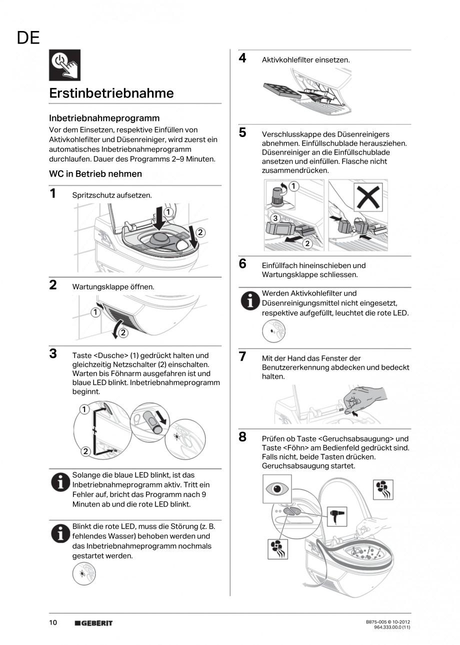 Pagina 10 - Vas WC cu jet de apa reglabil individual 8000plus GEBERIT AquaClean Instructiuni montaj,...