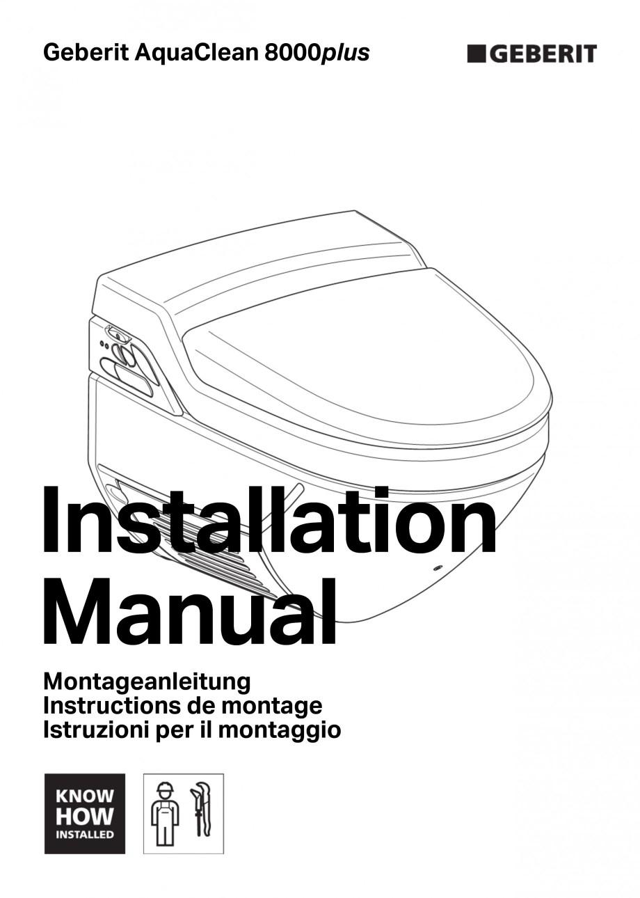 Pagina 1 - Vas WC cu jet de apa reglabil individual 8000plus GEBERIT AquaClean Instructiuni montaj, ...