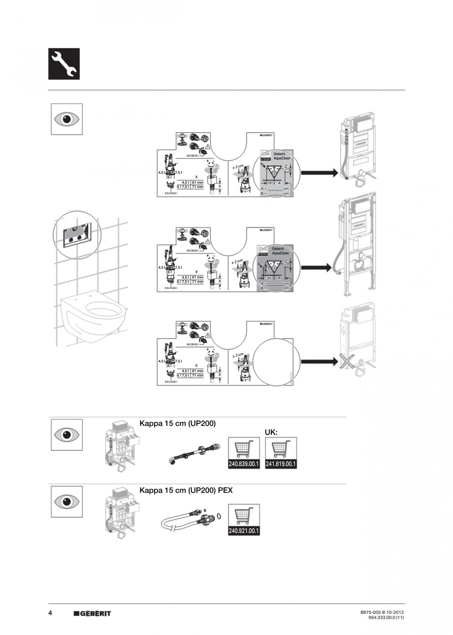 Pagina 4 - Vas WC cu jet de apa reglabil individual 8000plus GEBERIT AquaClean Instructiuni montaj, ...