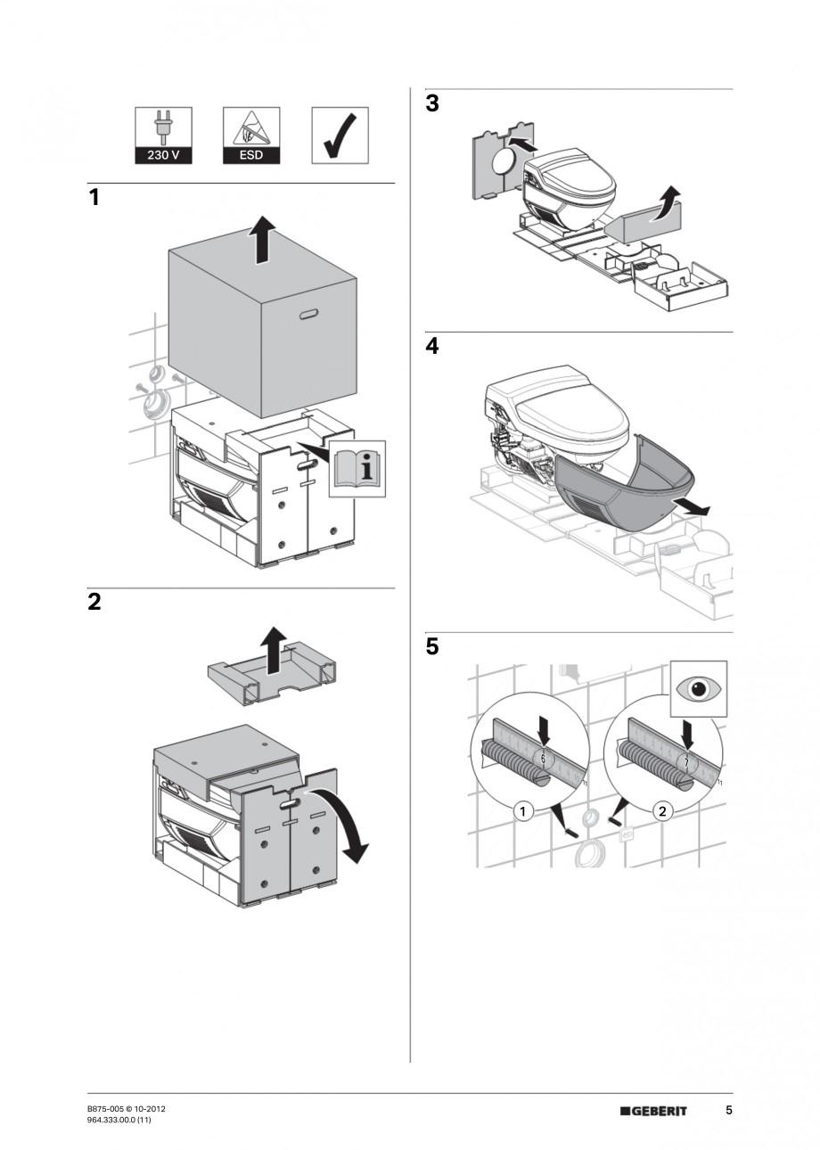 Pagina 5 - Vas WC cu jet de apa reglabil individual 8000plus GEBERIT AquaClean Instructiuni montaj, ...