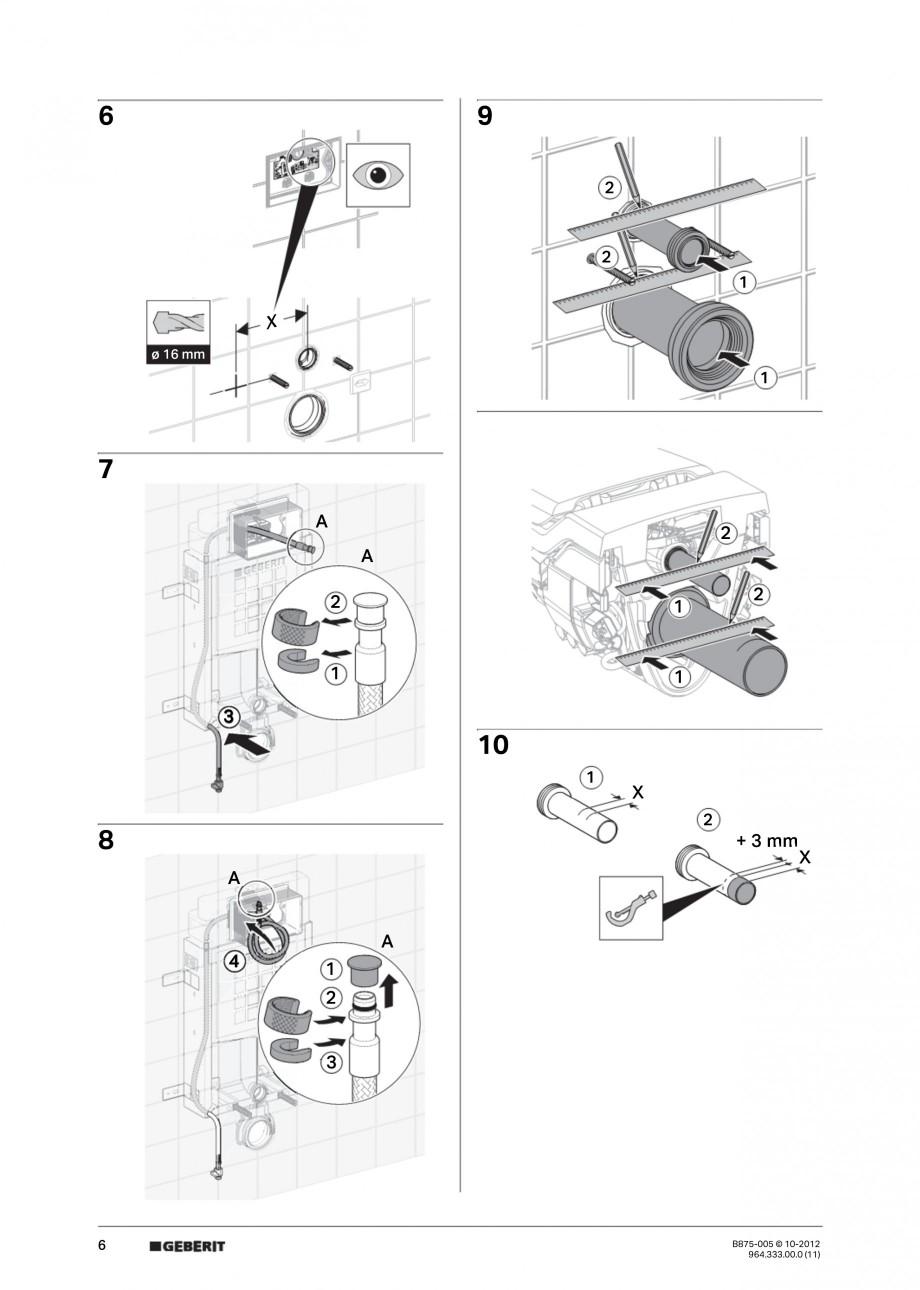 Pagina 6 - Vas WC cu jet de apa reglabil individual 8000plus GEBERIT AquaClean Instructiuni montaj, ...