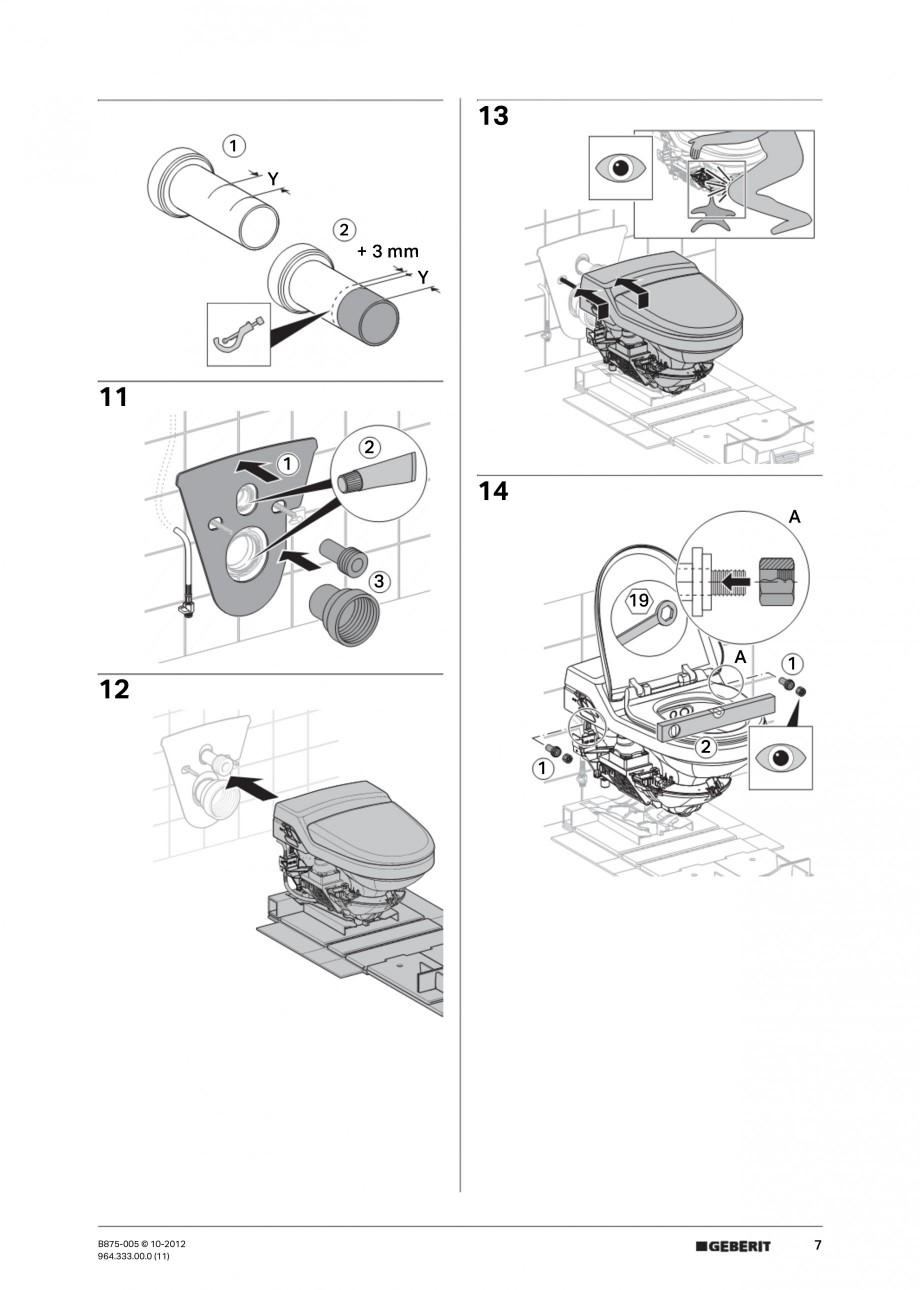 Pagina 7 - Vas WC cu jet de apa reglabil individual 8000plus GEBERIT AquaClean Instructiuni montaj, ...