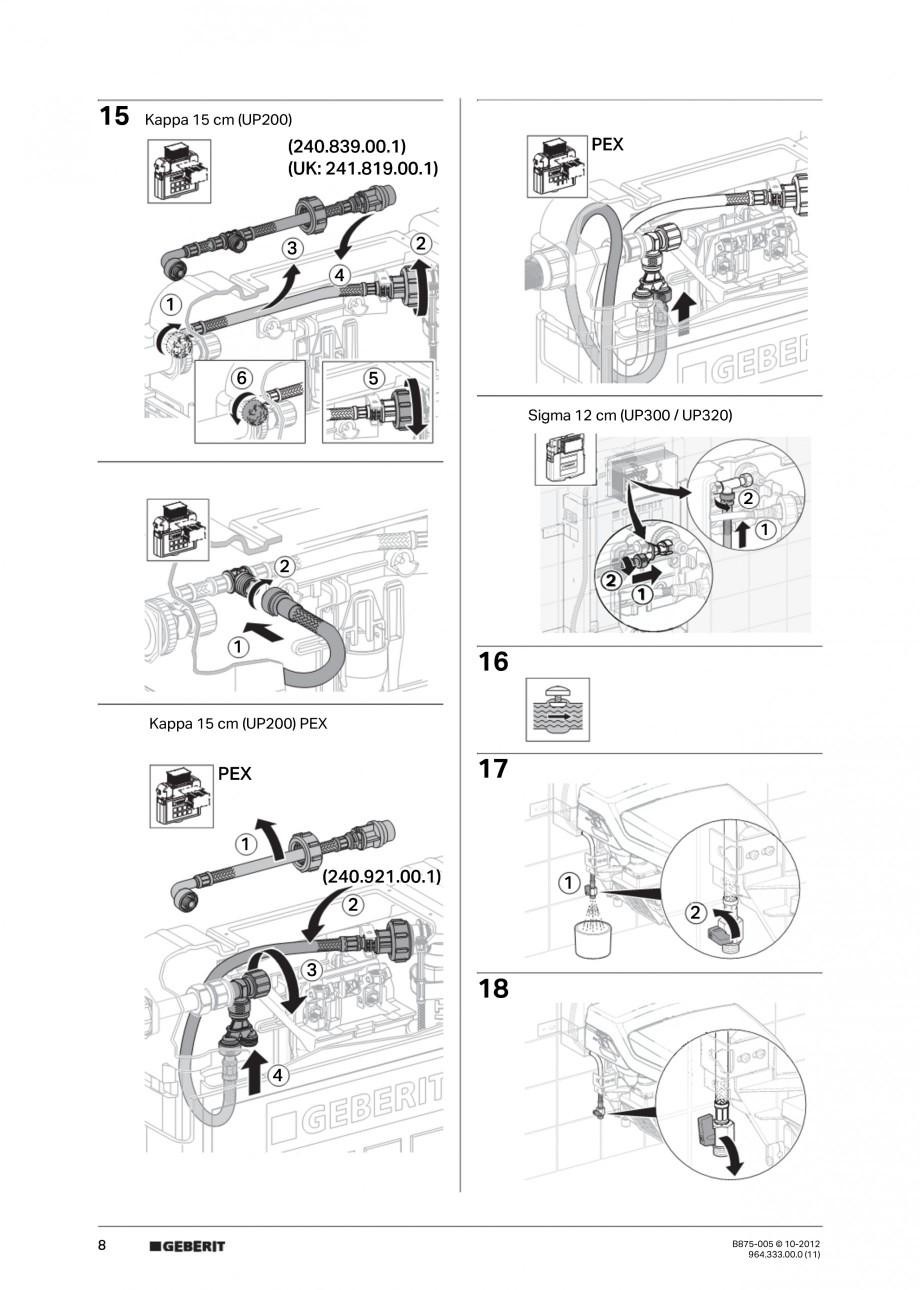 Pagina 8 - Vas WC cu jet de apa reglabil individual 8000plus GEBERIT AquaClean Instructiuni montaj, ...