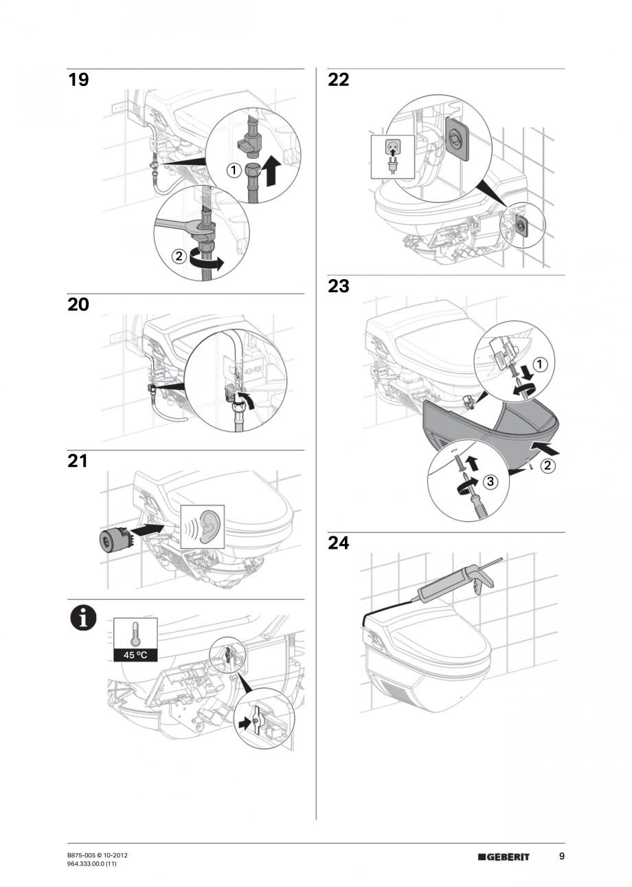 Pagina 9 - Vas WC cu jet de apa reglabil individual 8000plus GEBERIT AquaClean Instructiuni montaj, ...