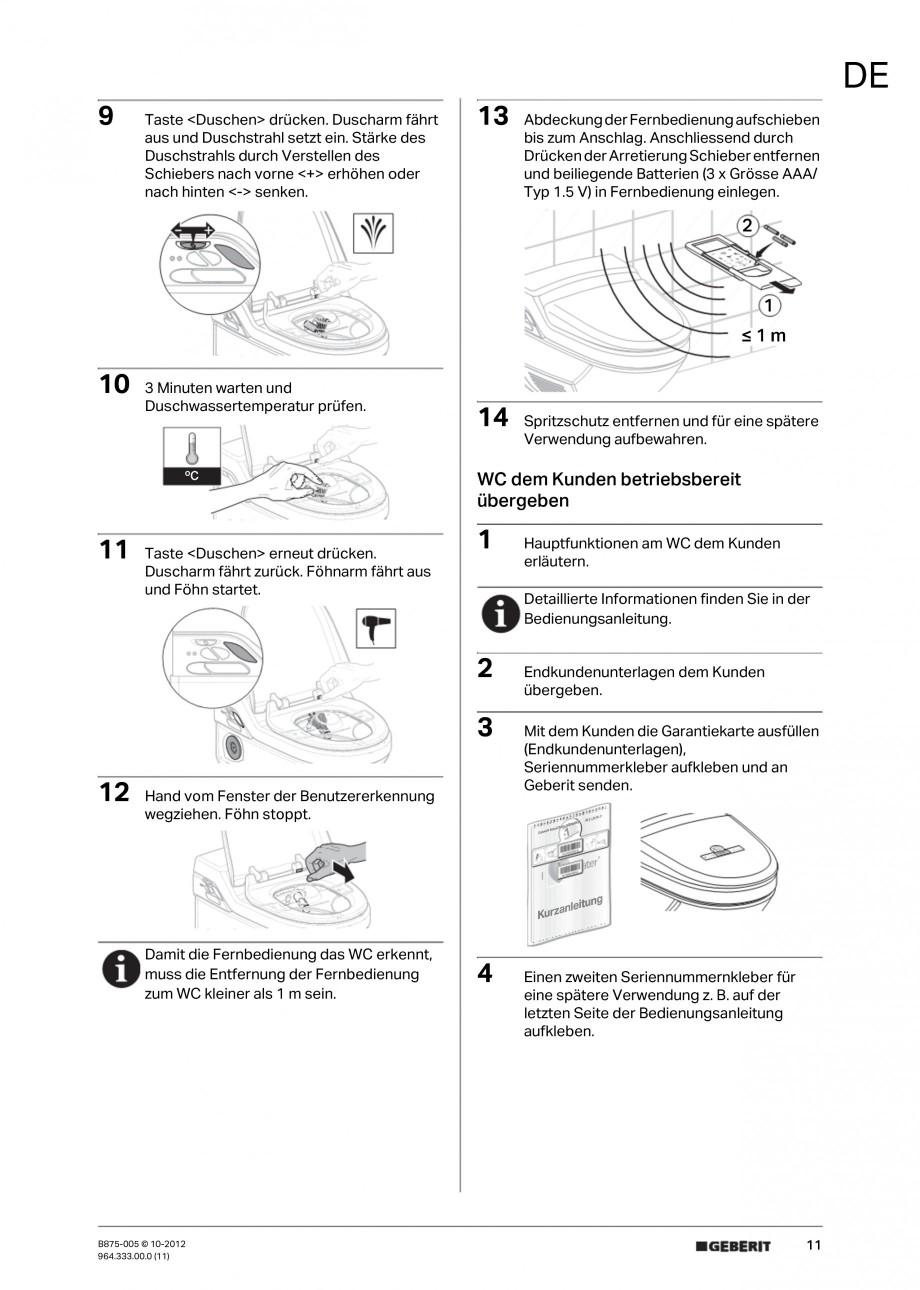 Pagina 11 - Vas WC cu jet de apa reglabil individual 8000plus GEBERIT AquaClean Instructiuni montaj,...