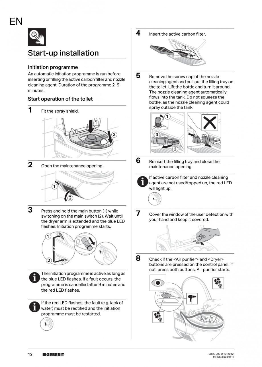 Pagina 12 - Vas WC cu jet de apa reglabil individual 8000plus GEBERIT AquaClean Instructiuni montaj,...