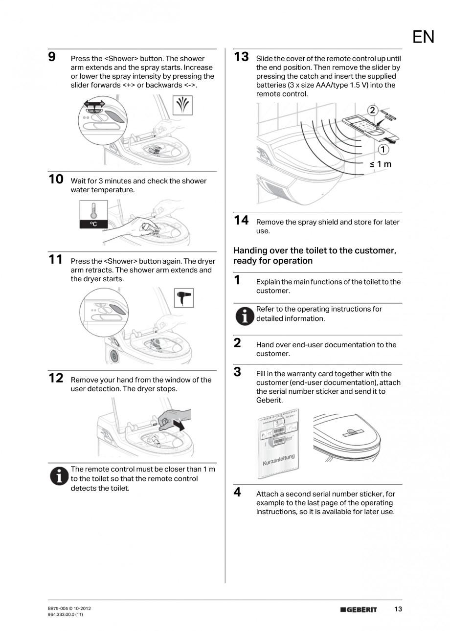 Pagina 13 - Vas WC cu jet de apa reglabil individual 8000plus GEBERIT AquaClean Instructiuni montaj,...