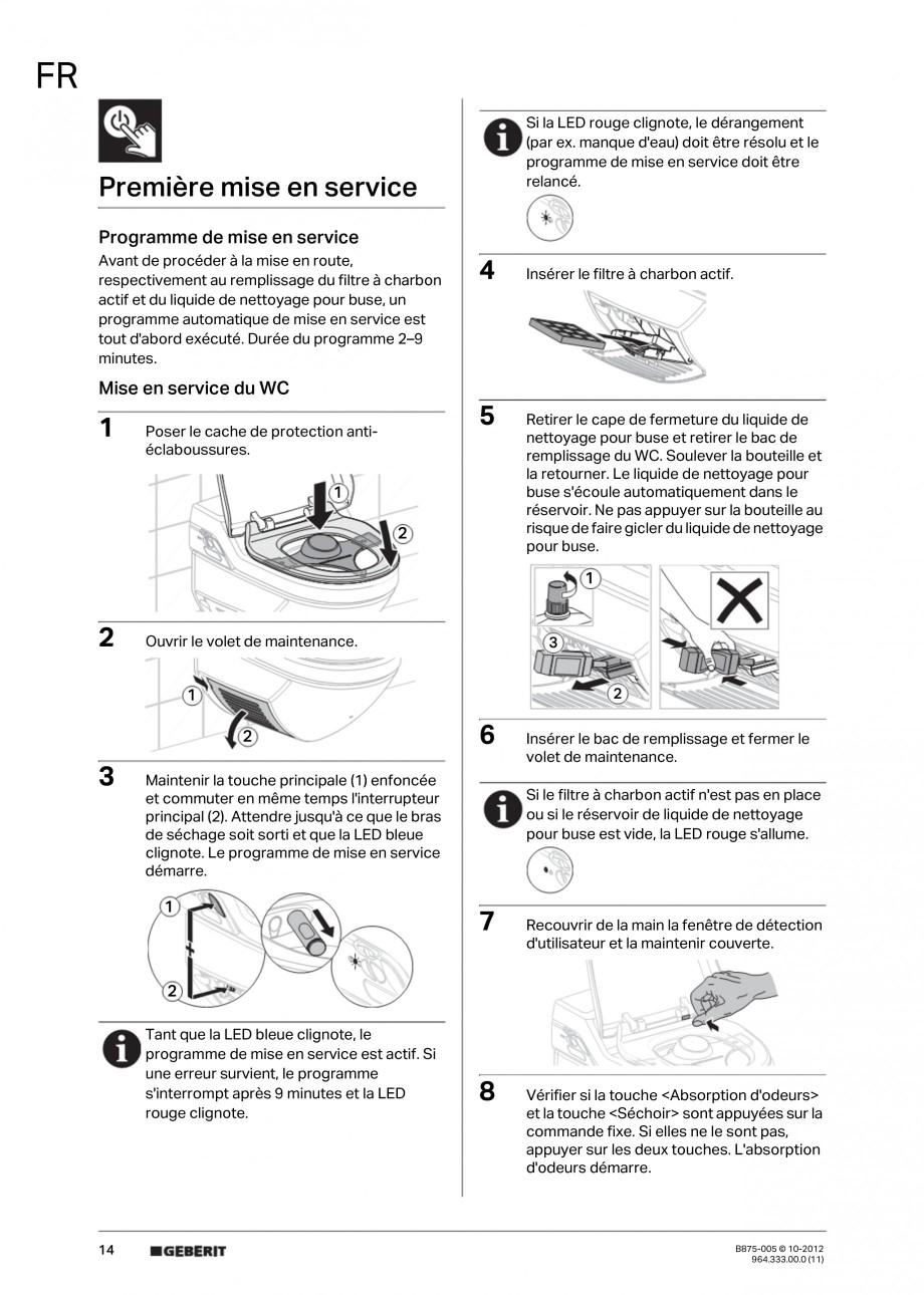 Pagina 14 - Vas WC cu jet de apa reglabil individual 8000plus GEBERIT AquaClean Instructiuni montaj,...