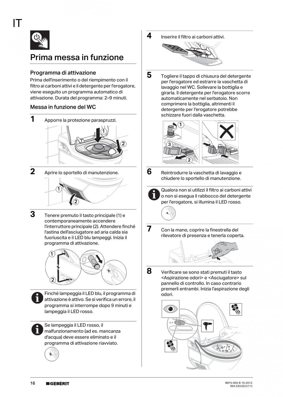 Pagina 16 - Vas WC cu jet de apa reglabil individual 8000plus GEBERIT AquaClean Instructiuni montaj,...